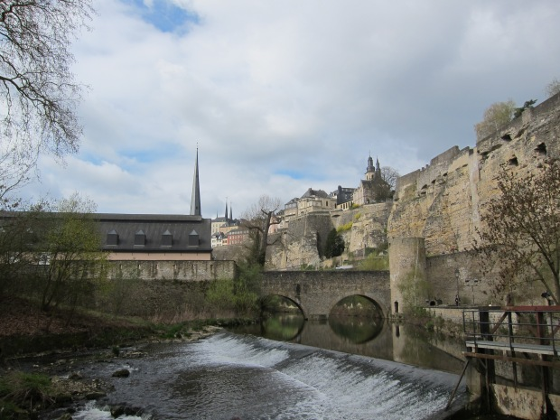 Petrusse River, and fortress walls