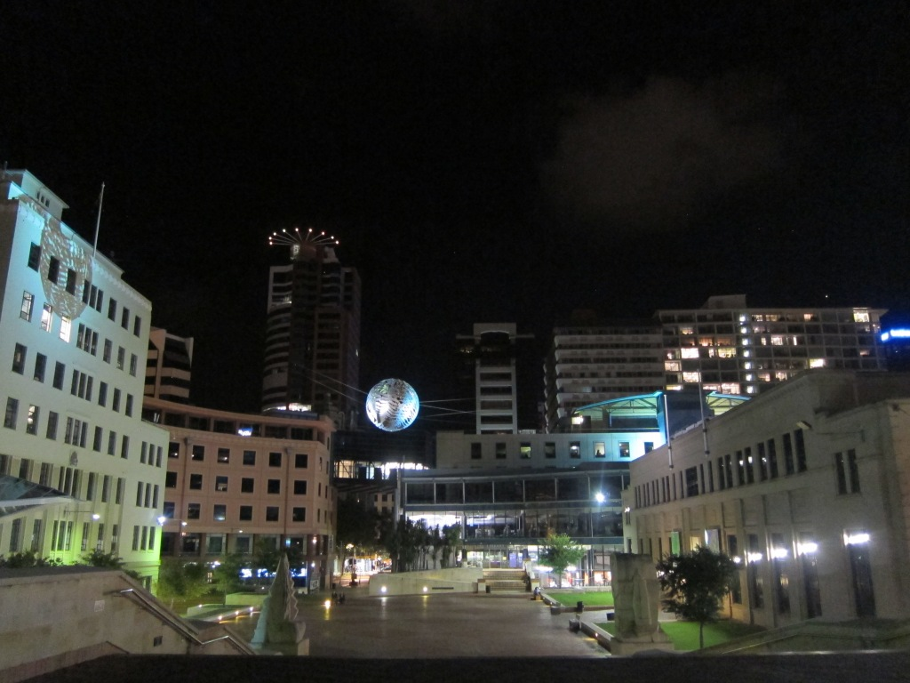 Wellington civic square, by night